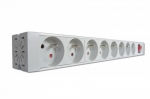Assmann Outlet strip with alumin ium profile, 8 outlets