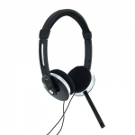 4world Stereo headphones AudioPC with microphone, black 08254