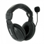 4world Stereo headphones with comfortable ear pads and microphone 3m blac