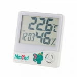Mesmed Hygrometer MM-777 Higo with temometer and clock function, white