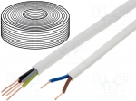 Cable; YDY; flat; solid; Cu; 3x1,5mm2; PVC; white; 450/750V; 100m